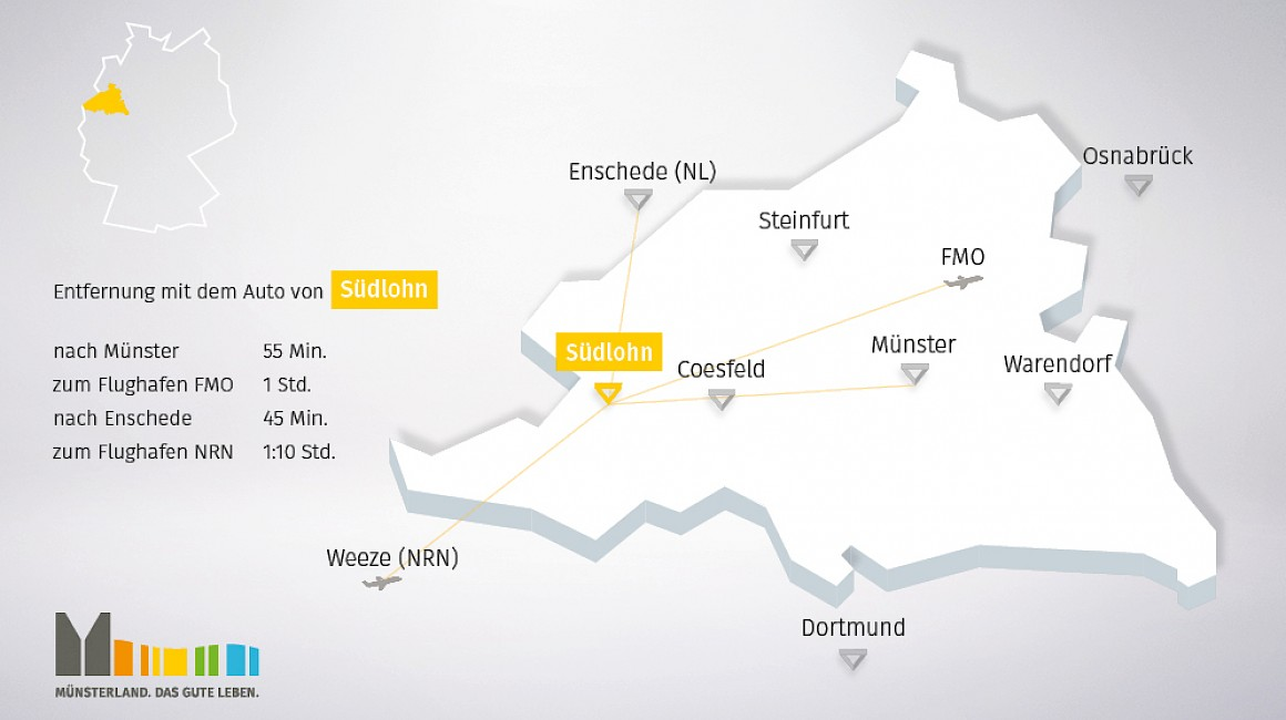 Geografische Lage von Südlohn im Münsterland