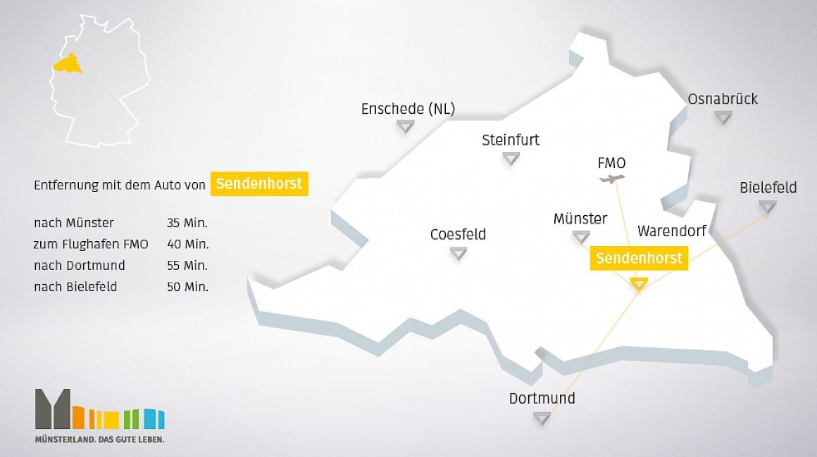 Geografische Lage von Sendenhorst im Münsterland