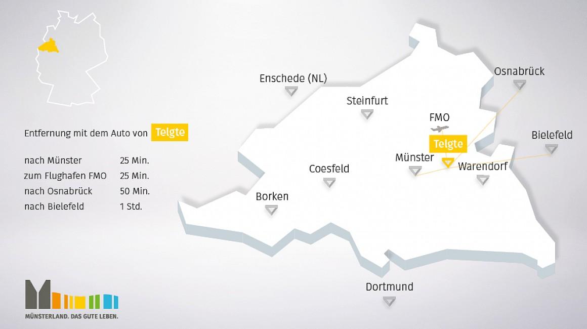Geografisch Lage von Telgte im Münsterland
