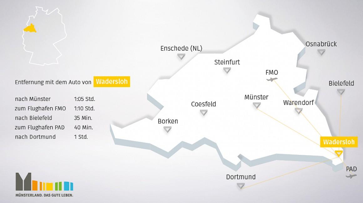 Anbindung und geografische Lage von Wadersloh im Münsterland