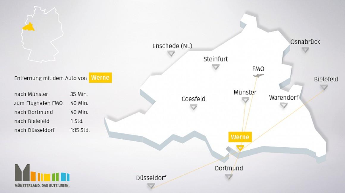 Geografische Lage von Werne im Münsterland