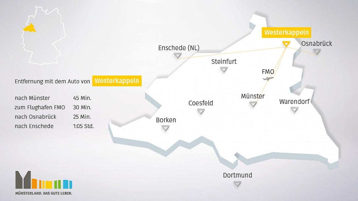 Anbindung und geografische Lage von Westerkappeln im Münsterland