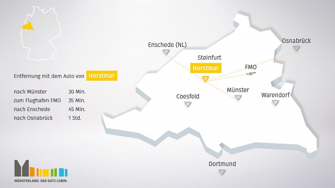 Geografische Lage von Horstmar im Münsterland