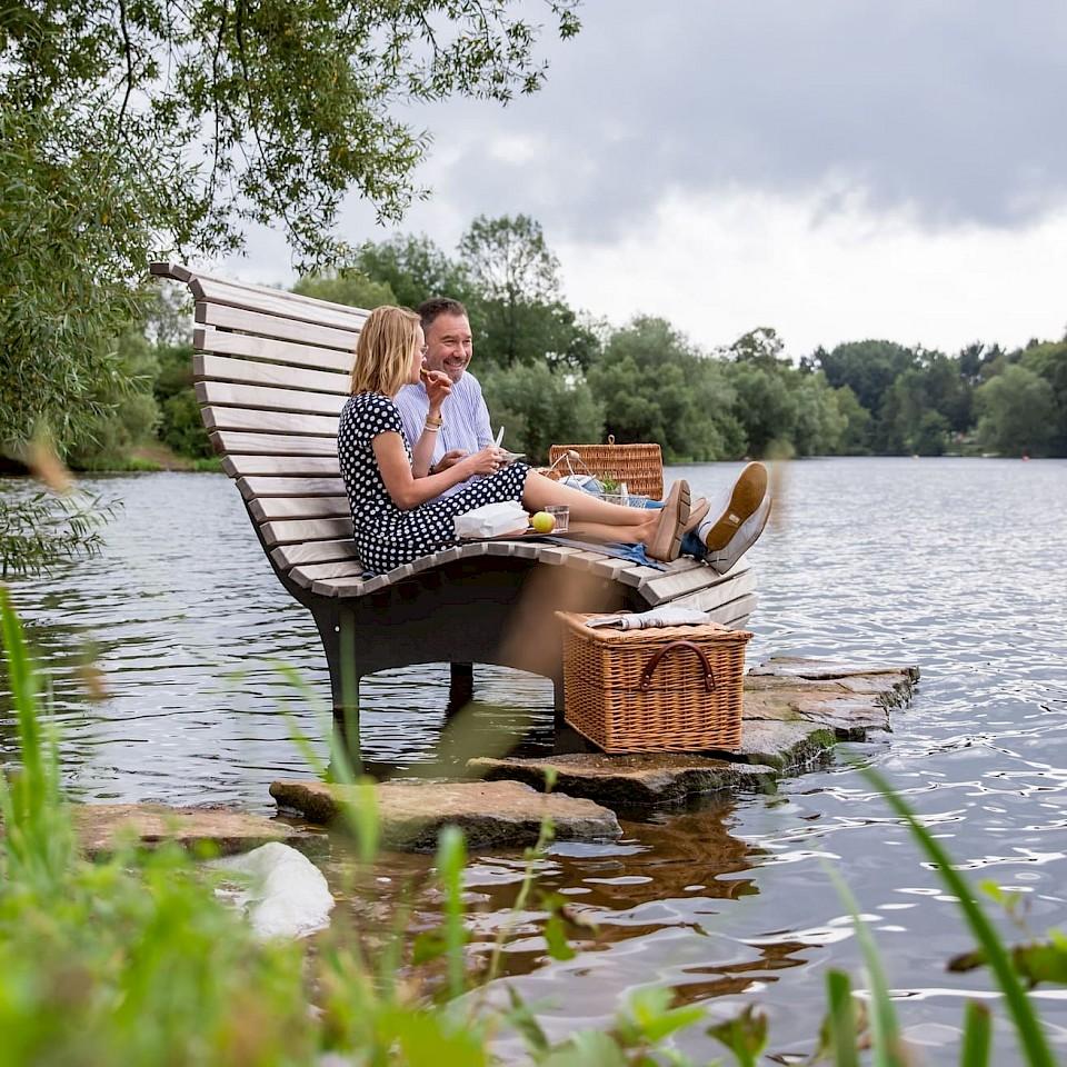 Picknick op de Aasee ligstoel