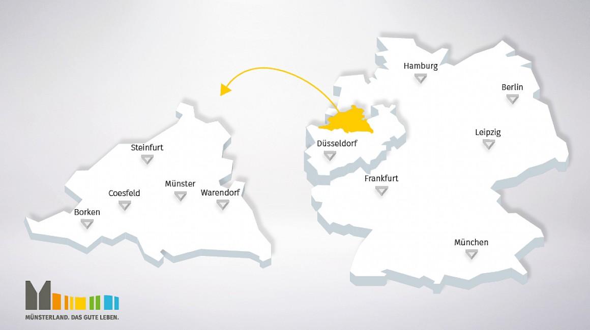 Karte Münsterland in Deutschland