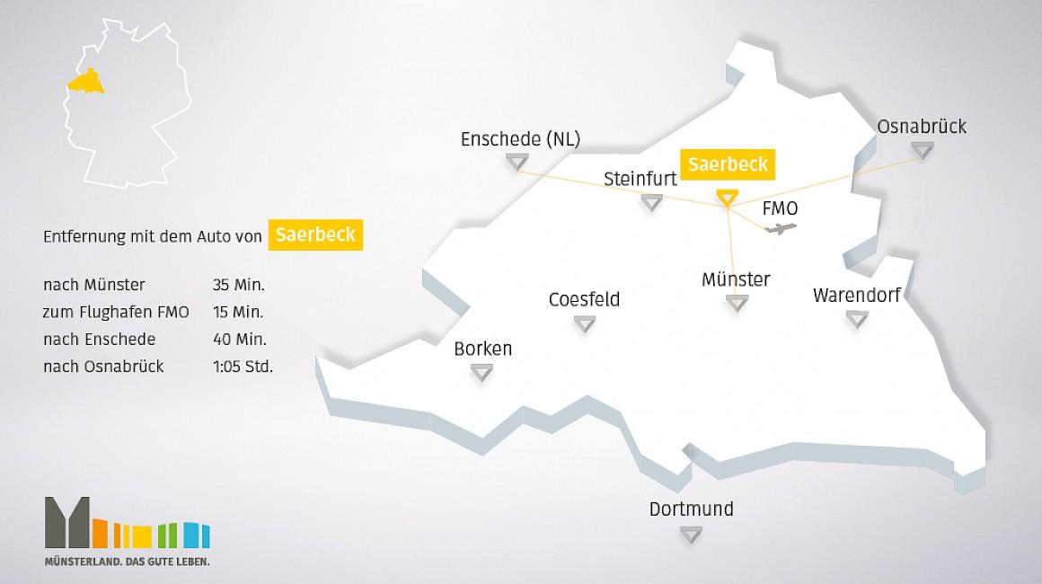 Geografische Lage von Saerbeck im Münsterland