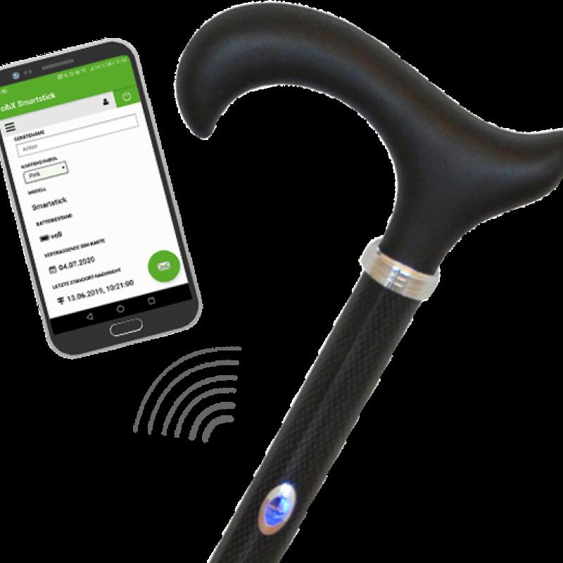 Der Smartstick ist eine vernetzte Gehhilfe.<br>© cibX GmbH