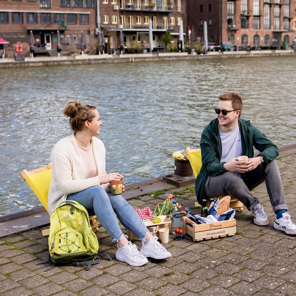 Picknick am Hafen in Münster