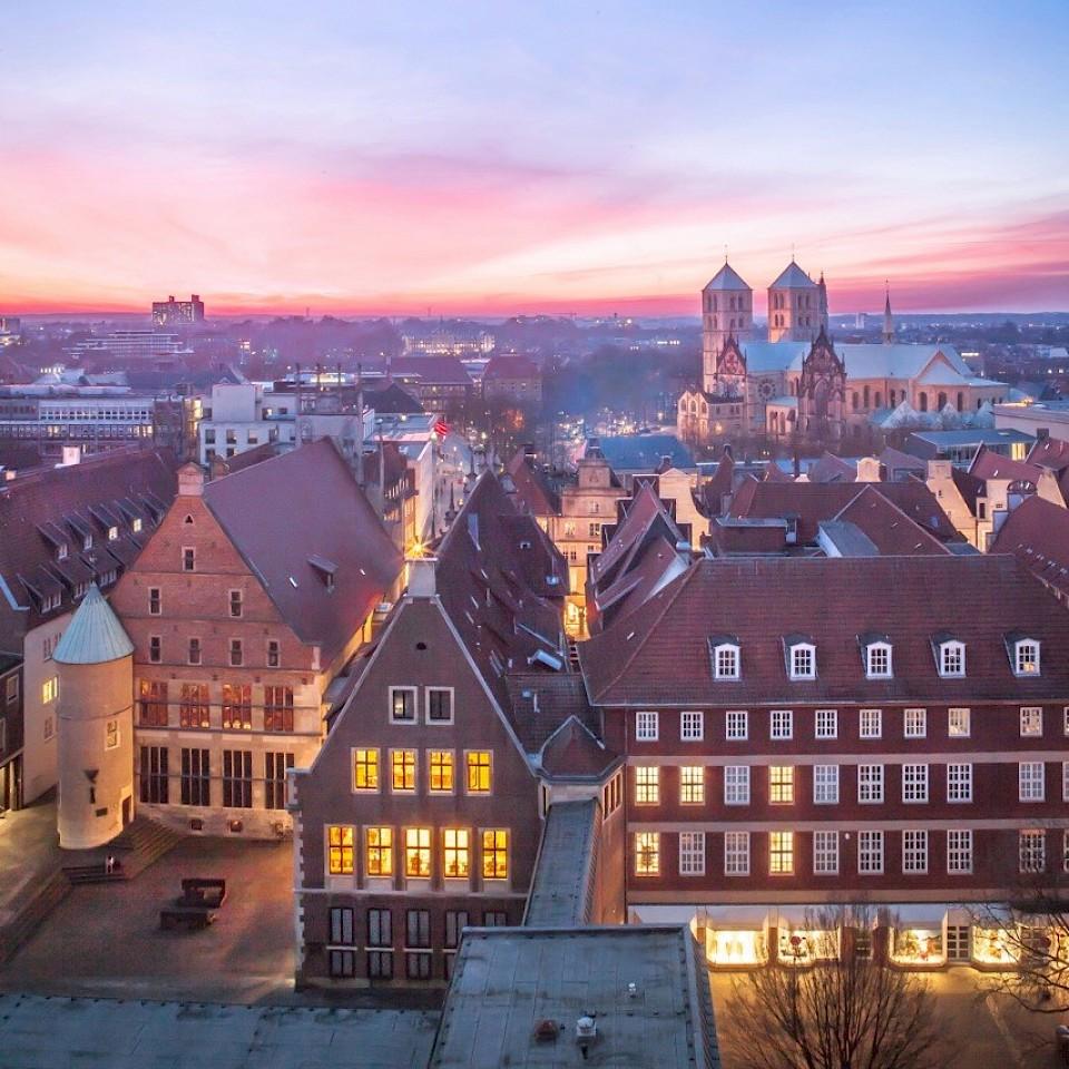 Blick von der Stadtverwaltung Münster über die Stadt.