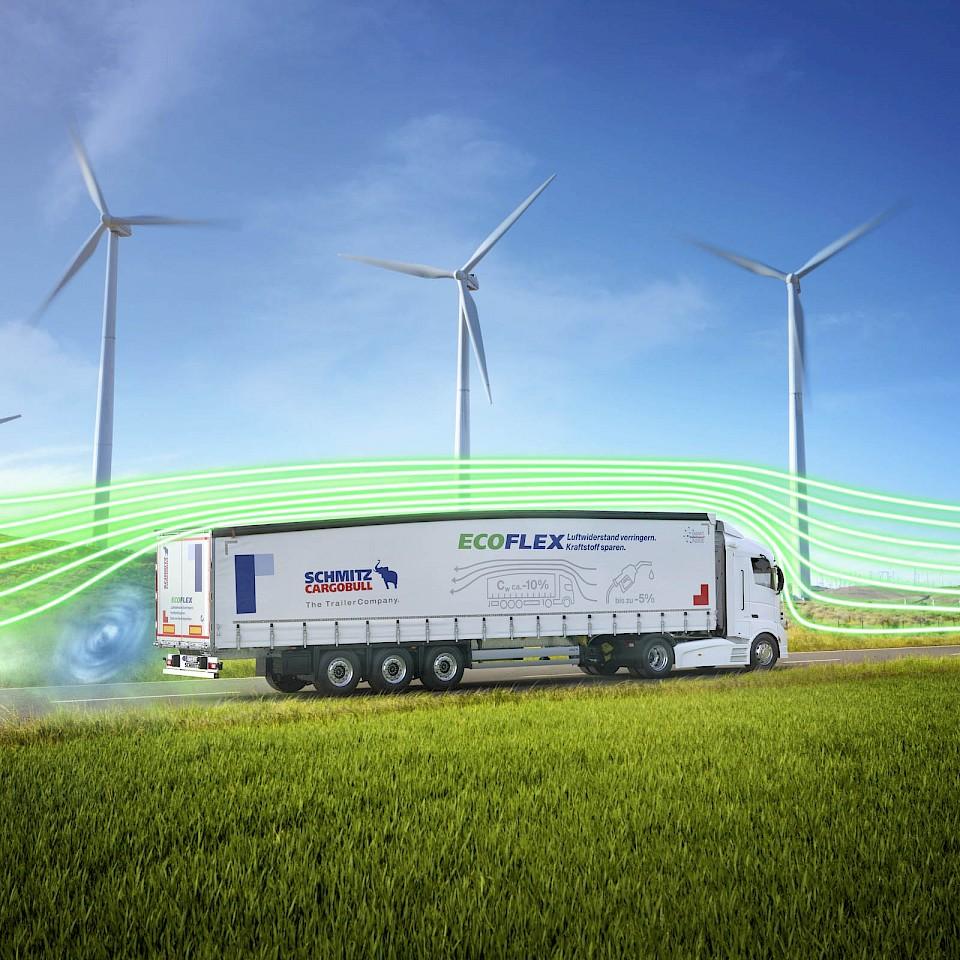 Schmitz Cargobull AG heeft een vrachtwagenoplegger ontwikkeld met een aerodynamische achterkant die brandstof bespaart en zo de CO2-uitstoot vermindert.